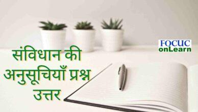 Samvidhan ki Anusuchi Prashn