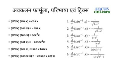 Differentiation Formula in Hindi
