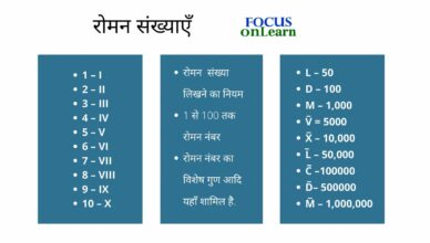 Roman Numbers in Hindi