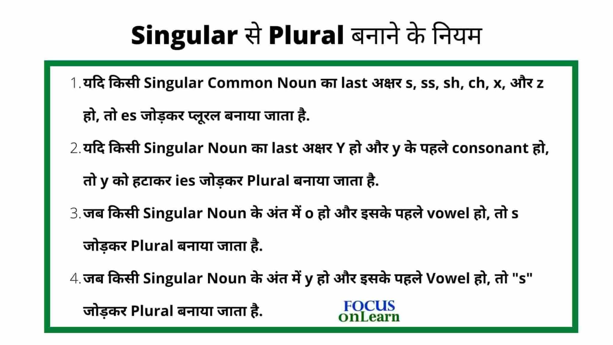 Singular Plural in Hindi