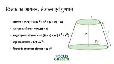 Frustum Formula in Hindi