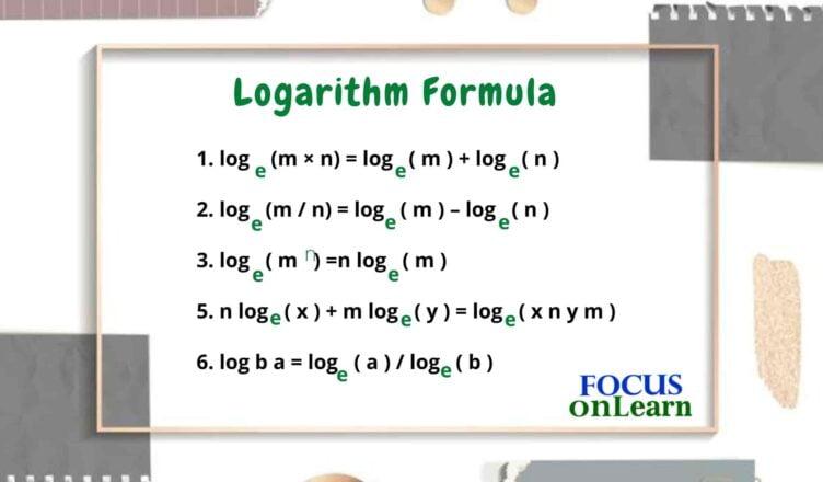 Logarithm Formula in Hindi