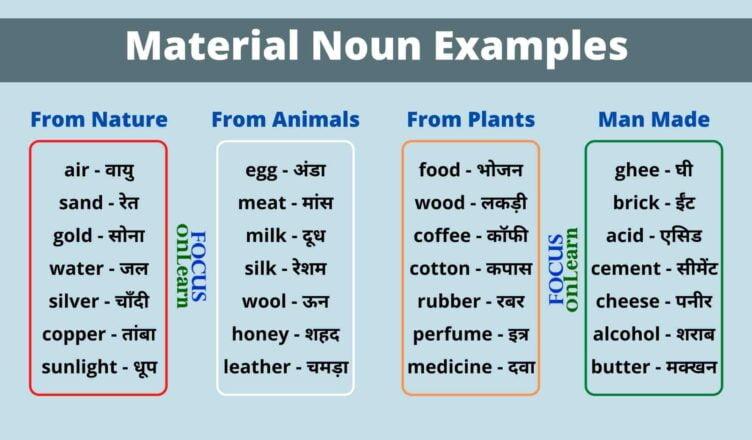 Material Noun in Hindi
