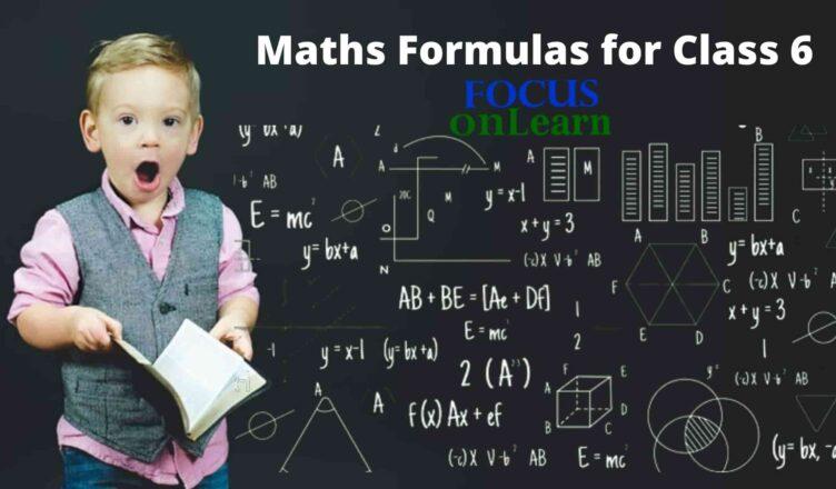 Maths Formulas for Class 6
